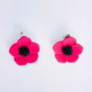 New! Purple Pink Poppy Flower Studs Earrings